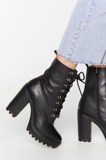 Black You Can't D-ring Me Down Leather Heeled Boots