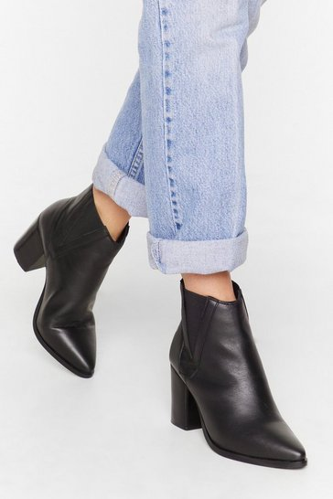 Womens Black V gusset leather chelsea boots