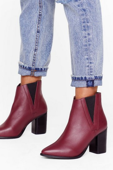 Burgundy My Best Side Leather Heeled Boots