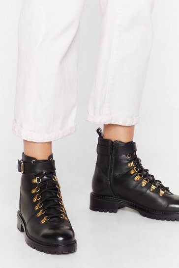 Black D-ring 'Em Out Leather Hiker Boots
