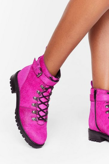 Womens Pink Slide into My D-Rings Pony Hair Leather Boots