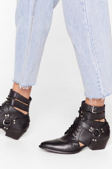 Black Count Us Cut-Out Leather Lace-Up Boots