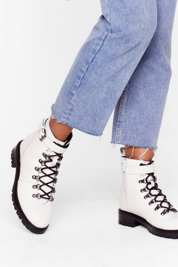 Womens White Slide into My D-Rings Leather Hiker Boots