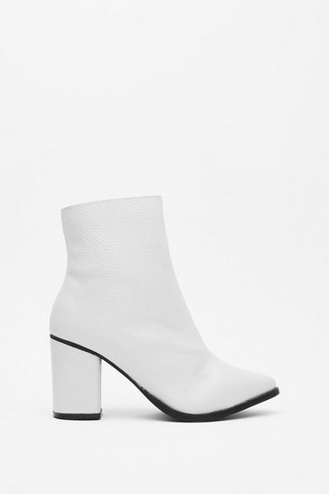 White Block 'Em Leather Heeled Boots