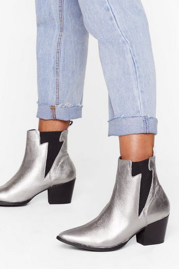 Womens Silver Like Lightening Metallic Leather Chelsea Boots