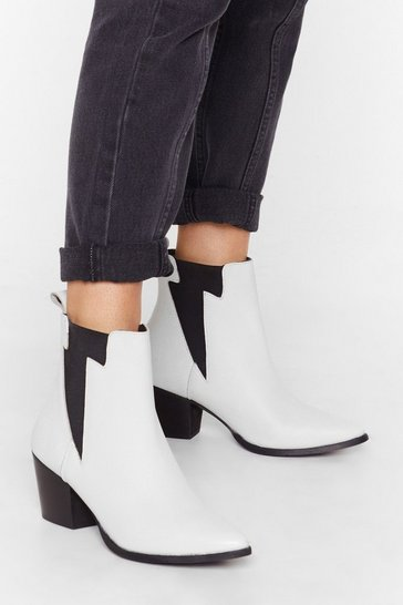 White Lightening gusset leather chelsea boot