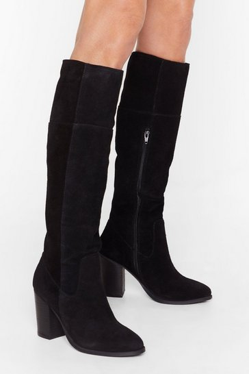 Black Half pony knee high almond toe boot