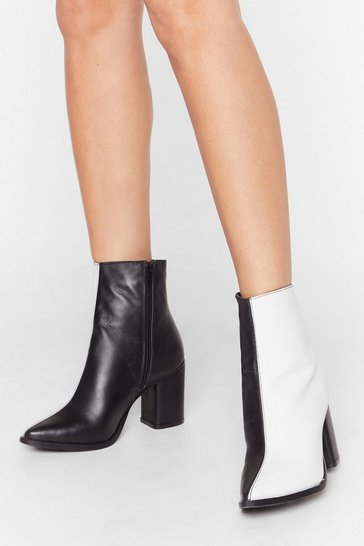 Womens White Leather mono half & half boot block heel boot