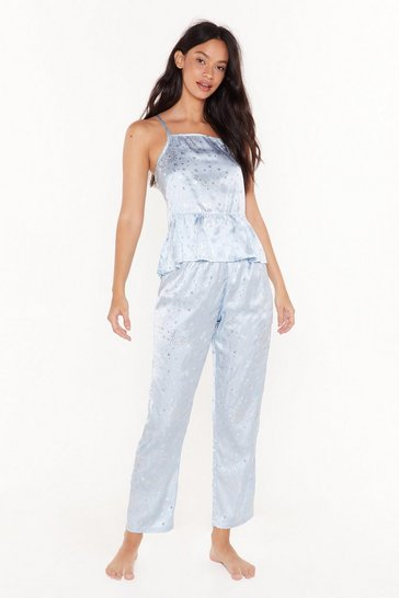Womens Blue Late Night Memories Satin Star Pyjama Set