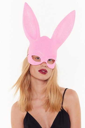 Womens Pink Dangerous Woman Glitter Bunny Mask