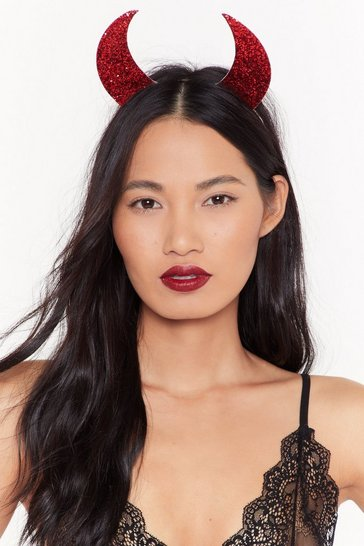 Womens Red So Horny Sequin Devil Horns Headband