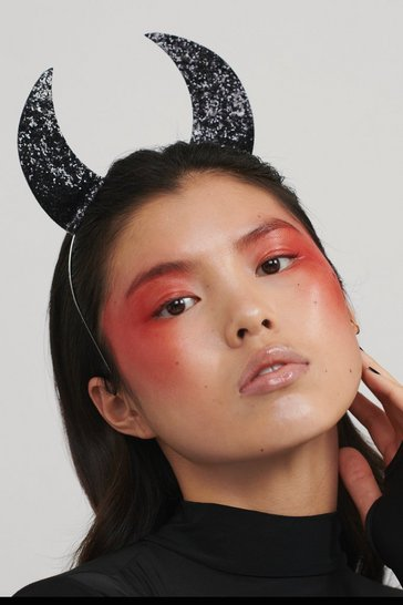Black So Horny Sequin Devil Horns Headband