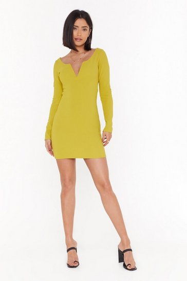 Womens Chartreuse I Want to Break V Ribbed Mini Dress