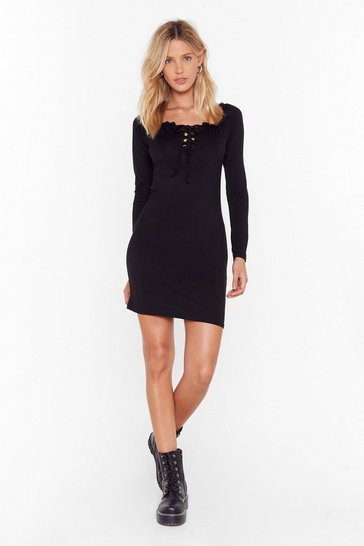 Womens Black Call Fit Quits Lace-Up Mini Dress