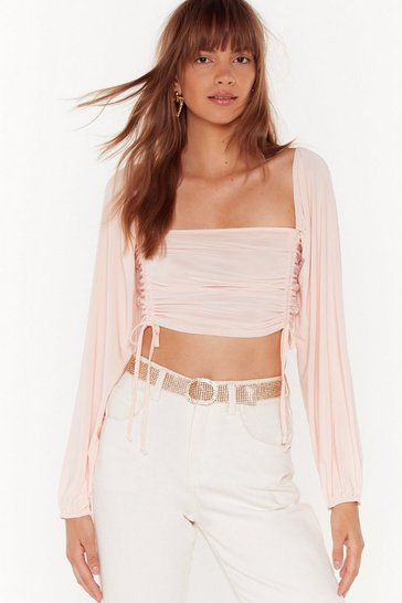 Womens Nude What's the Ruche Slinky Cropped Top