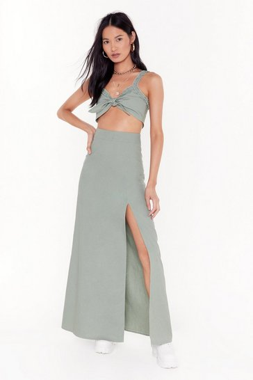 Womens Sage Good to Bow Linen Crop Top and Maxi Skirt Set