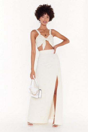 Womens White Good to Bow Linen Crop Top and Maxi Skirt Set