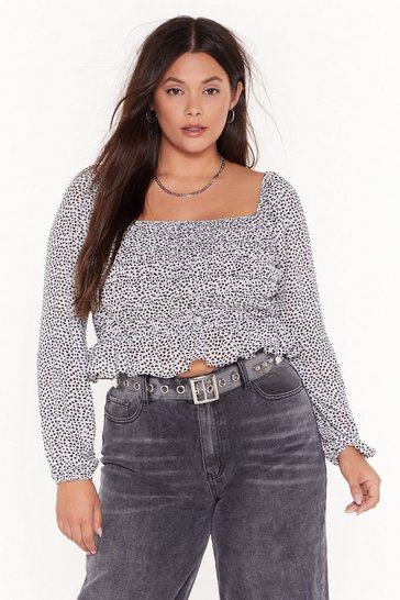Hearts Lie Plus Square Neck Top, White