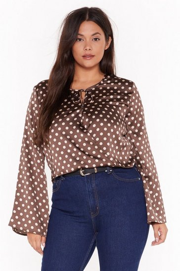 Womens Brown Cross Over Crop Blouse