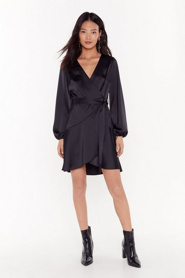 Womens Black Touch and Go Wrap Satin Dress