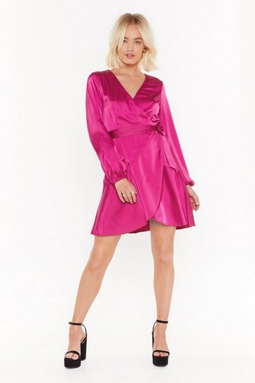 Hot pink Touch and Go Wrap Satin Dress