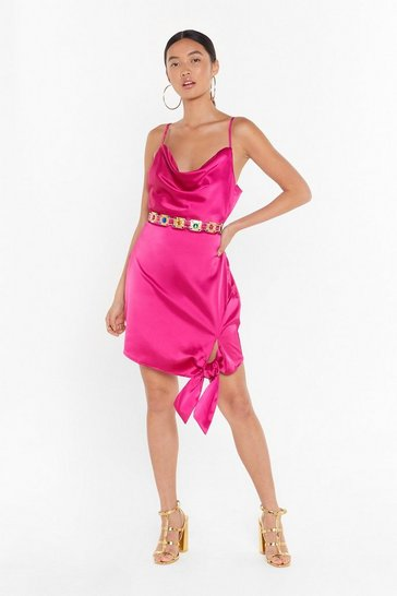 Hot pink Tie a Lil Harder Satin Mini Dress