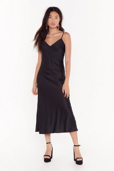 Womens Black Power Slip Satin Midi Dress