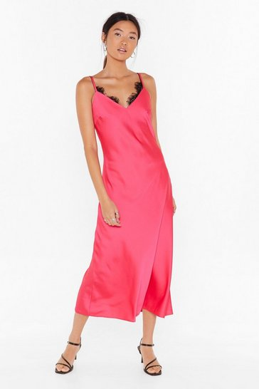Hot pink Slip Satin Midi Dress with V-Neckline