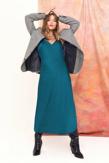 Womens Teal Power Slip Satin Midi Dress
