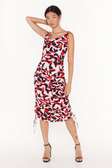 Pink So Bold Abstract Midi Dress