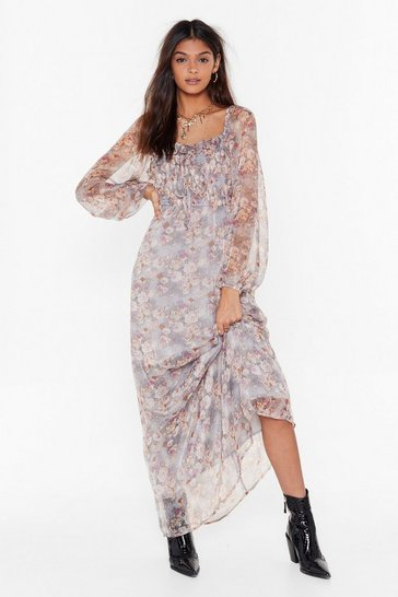 Womens Grey Get Over Sheer Floral Maxi Dress