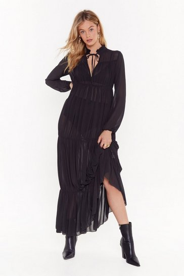 Black Can't Tie Me Love Chiffon High-Neck Maxi Dress