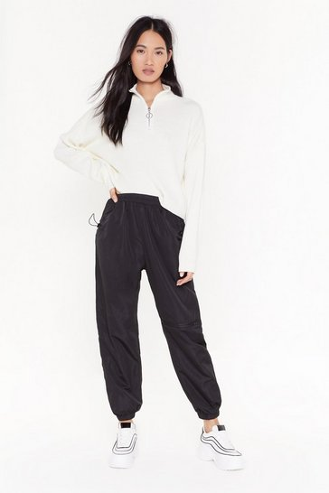Black Running Up Bills High-Waisted Zip Joggers