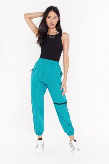 Teal Running Up Bills High-Waisted Zip Joggers