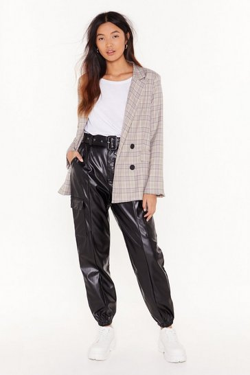 Womens Black Friend or Faux Leather Jogger Pants