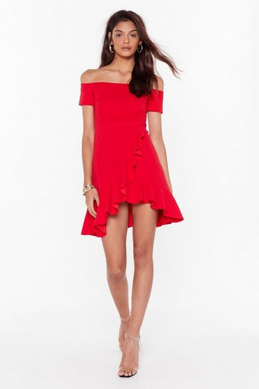 Womens Red Show Me Off-the-Shoulder Mini Dress