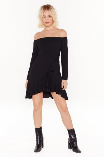 Black And She's Off-the-Shoulder Wrap Mini Dress