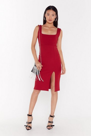 Womens Burgundy Squarin' to Go Slit Midi Dress