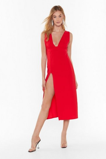 Red Deep on Dancing Midi Dress