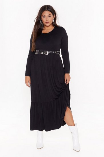 Womens Black  plus layered maxi smock dress