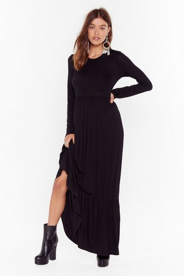 Womens Black layered maxi smock dress