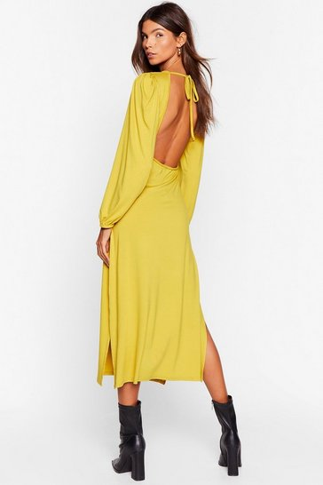 Womens Gold Don't Look Back in Anger Relaxed Maxi Dress