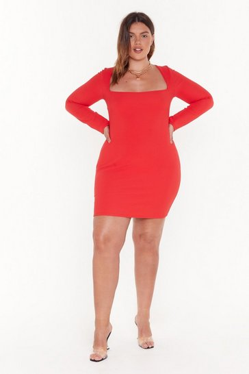 Red For All You Square Plus Ribbed Dress