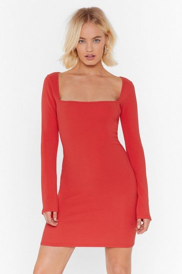 Red For All You Square Ribbed Mini Dress