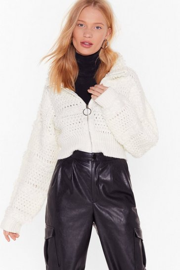 Womens Ecru Keep Us in the Loop Shaggy Jacket