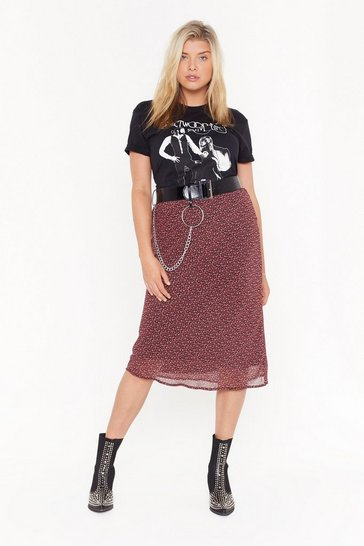 Red Cowl off the Search Plus Floral Midi Skirt