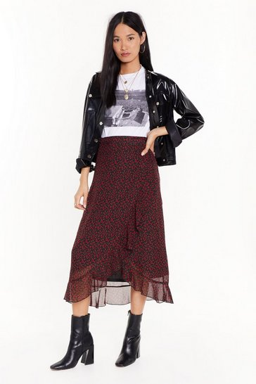 Womens Black What Grows Around Floral Midi Skirt