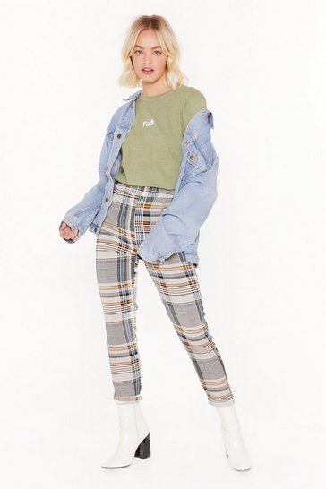 Bold Check Tapered Pant, Green, FEMMES