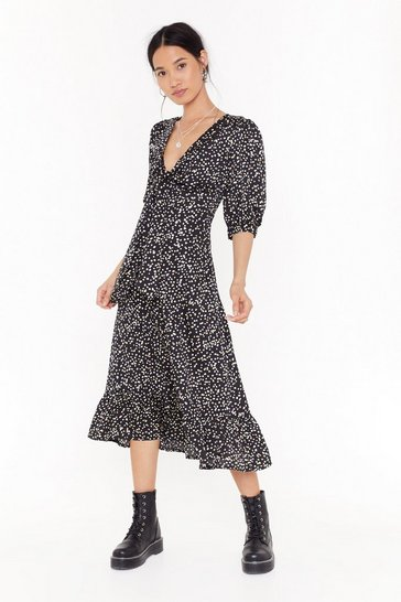 Womens Black Gold Polka Tie Front Midi Dress