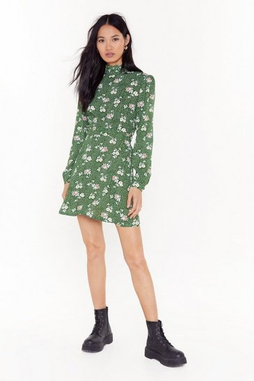 Olive Flower Lips are Sealed Floral Mini Dress